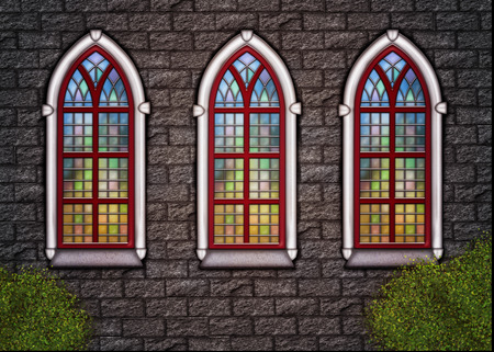 Old stonechurch wall with three windows