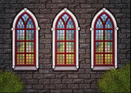 hymn: Old stonechurch wall with three windows