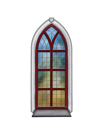 Churchwindow old with stained glass Banco de Imagens