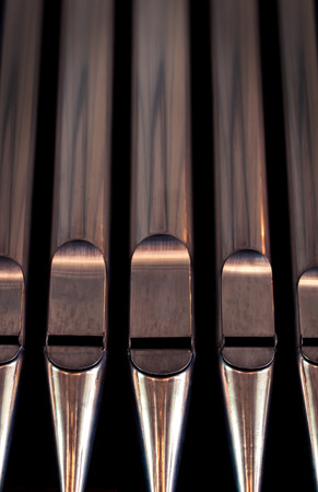 hymn: Organ pipes close up Stock Photo