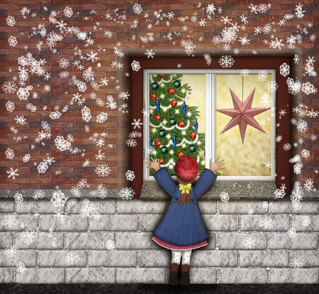 Little girl looking through the window at christmas