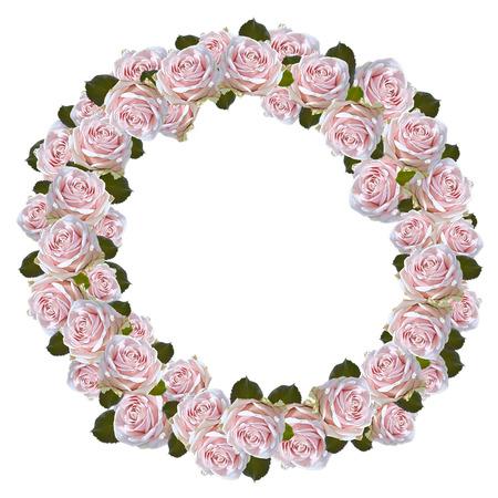 Wreath of pink roses Banco de Imagens