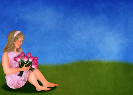 Tulips and girl in springlandscape