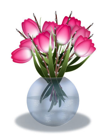 Tulips and willow twigs in a vase Banco de Imagens