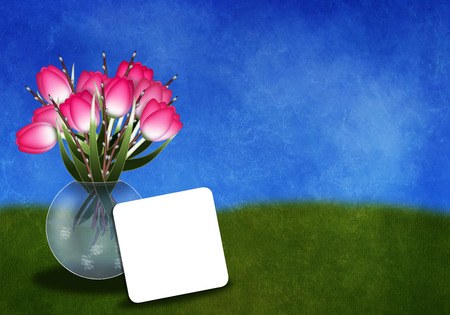 Greetingcard with tulip and willow twigs  in a vase