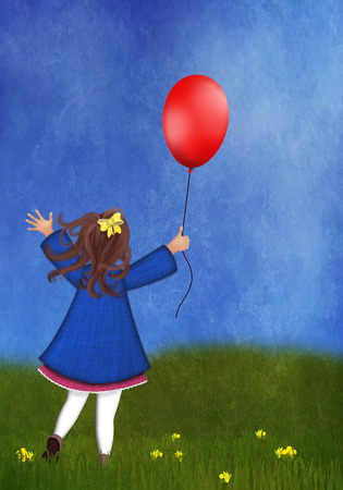 Happy little girl playing with a balloon on a spring meadow