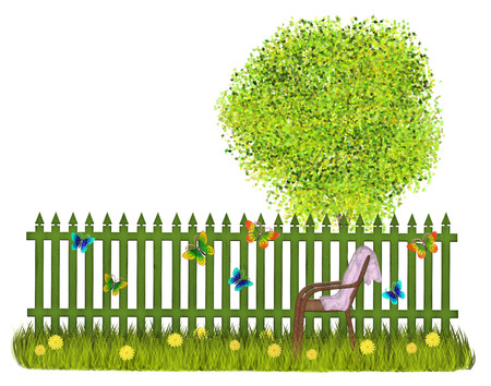 Summer garden with green fence butterflies daisies and tree with green leaves