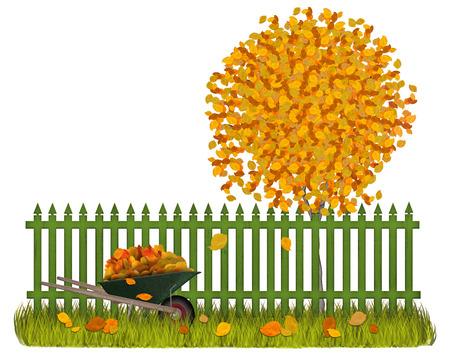 Autumn garden with green fence wheelbarrow and autumnleaves Banco de Imagens