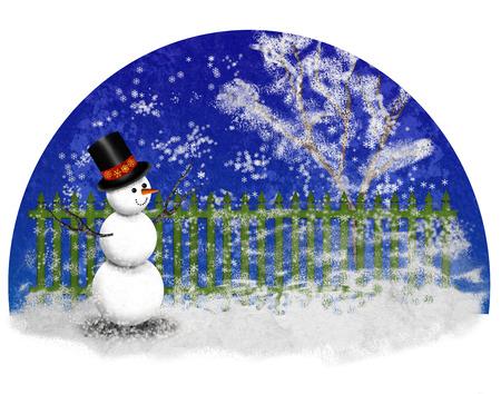 winter garden with green fence and snowman Banco de Imagens