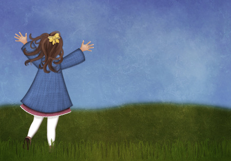 Happy little girl running in a spring meadow