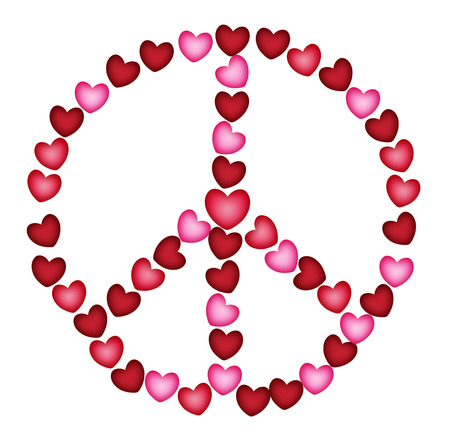 Peacesign of small hearts in red and pink