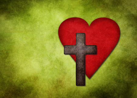 jesus: Christian cross and red heart on green textured background Stock Photo