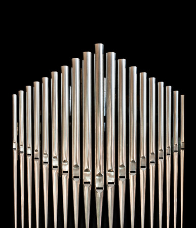 hymn: Closeup of pipes from an church organ