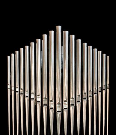 Closeup of pipes from an church organ