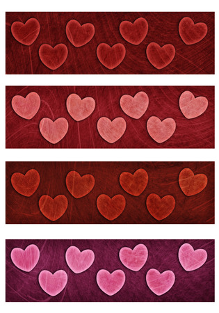 Valentine heart four banners in muted colors