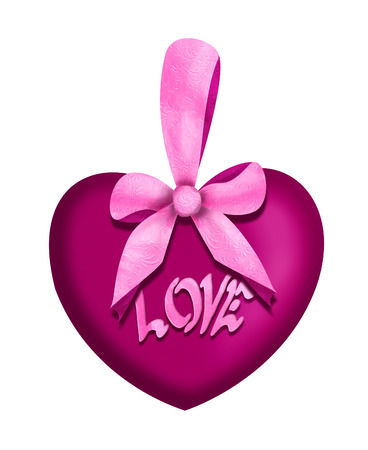 Purple low heart with a pink bow and the word love Banco de Imagens
