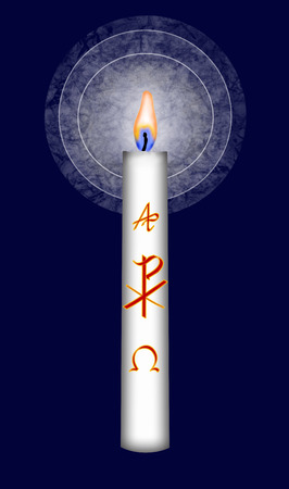 Easter candle with Christ monogram and alpha and omega symbol