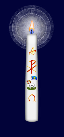 Easter candle with Christ monogram, Gods lamb symbol  and alpha and omega