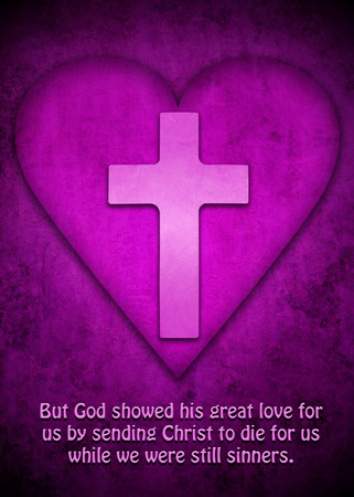 Cross inside a purple heart and with words from Roman 5:8 Banco de Imagens