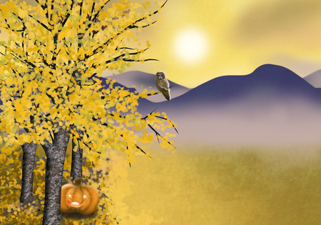 Autumn landscape background with asp trees pumpkin and owl