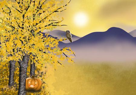 Herfst landschap achtergrond met asp bomen pompoen en uil