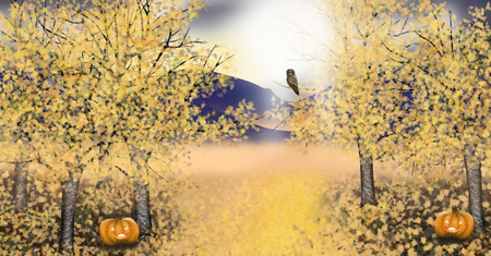 Autumn landscape with asp trees with golden leaf an owl and a Jack o lantern