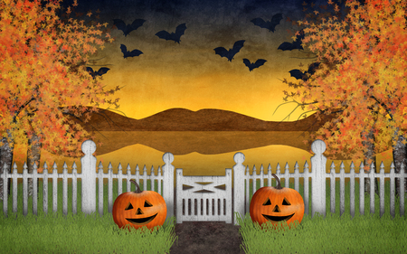 Halloween garden with pumpkins and a beautiful autumn landscape in the background where the bats fly in the sky