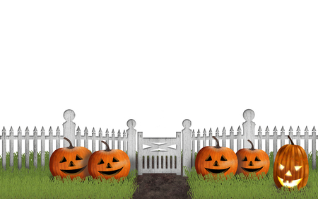Halloween garden with pumpkins in front of a fence Isolated on white Banco de Imagens