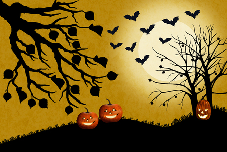 Halloween landscape with pumpkins in the dead grass. The moon shines bright and the bats fly hunting for insects