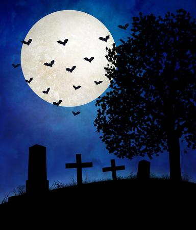 Halloween night, a deserted and abandon cemetery with gravestones and crosses. The moon is shining and the bats are out and chasing insects