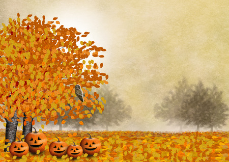 The pumpkin family with their friend the owl in an autumn landscape