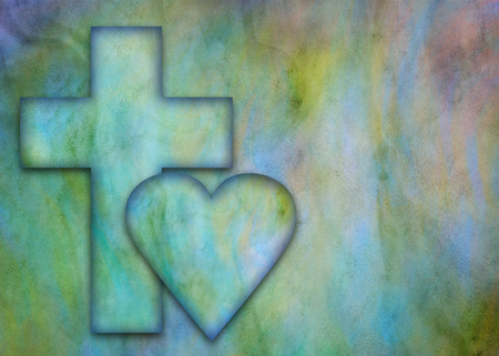 Hidden cross and heart on a multicolored background Stockfoto