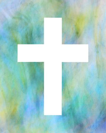 White cross on a multicolored background Banco de Imagens - 106997942