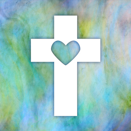 White cross with heart inside on a multicolored background