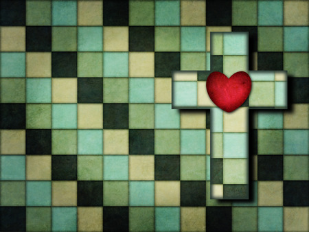 Cross and heart hidden in a Checkerboard pattern with vintage color Banco de Imagens - 106994441