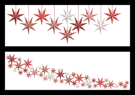 Banners with vintage style christmas stars isolated on white Banco de Imagens