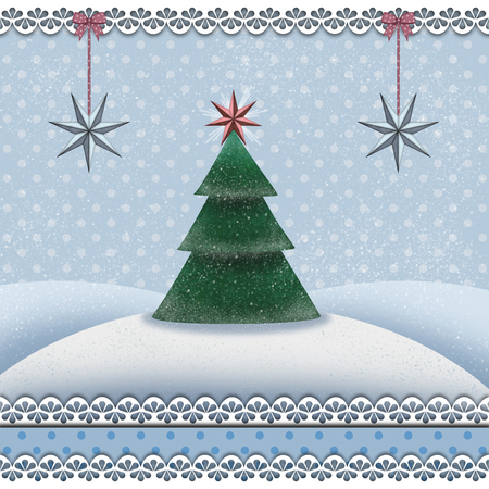 Christmas card with a fir tree in a snowy landscape Banco de Imagens - 106994337