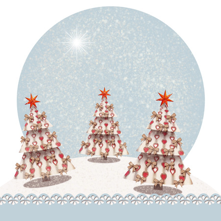 Christmas tree decorated with stars and bows, in a snowy landscape christmas card with copyspace for your text