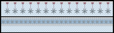 Christmas winter banner with stars and dots 2 separate isolated on black