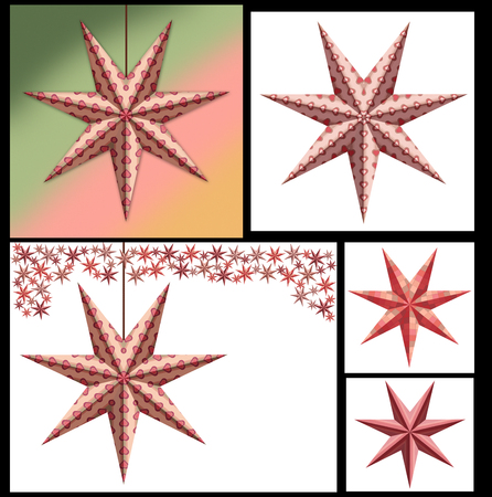 Five sets of Vintage style merry christmas stars Banco de Imagens