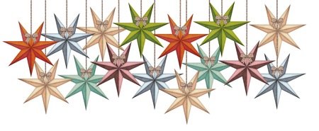 Vintage christmas stars in a group isolated on white