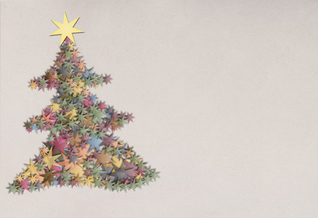 Vintage transparent papper star in form of a christmas tree for chrismas greetings or advertising Banco de Imagens - 106994438