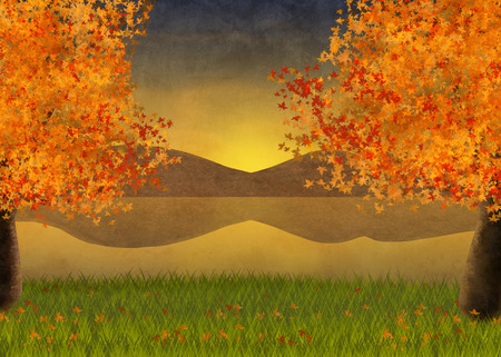 Illustration and background of autumn landscape with maple trees and a view over the lake Banco de Imagens