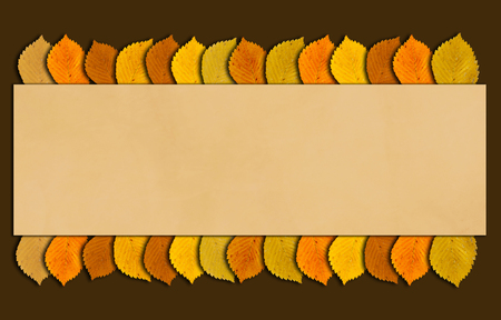 Autumn frame with autumncolored leaves. Fall time background with copy space for your text