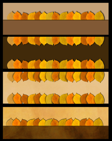 Autumn leaves banner set. Nature border Banco de Imagens - 106994292