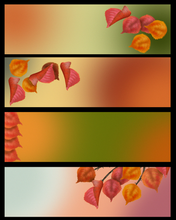 Autumn leaves banner set in lovely vintage color free copy space for your text Banco de Imagens