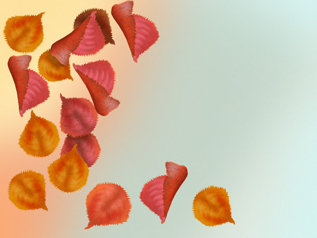 Illustration of beautiful colorful autumn leaves falling from the tree free copy space for your text