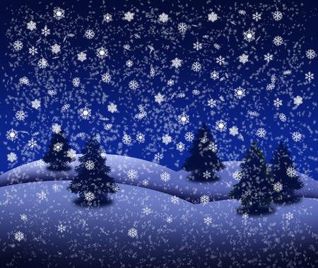 Snowy winter landscape with fir trees Banco de Imagens