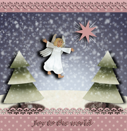 Christmas angel and the star of Betlehem christmas trees and the word Joy to the world