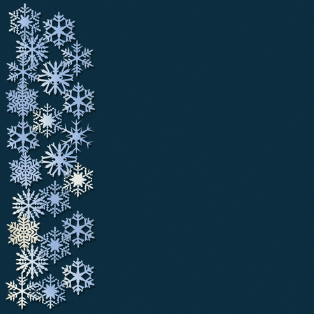 Snowflakes at left border on a dark blue background